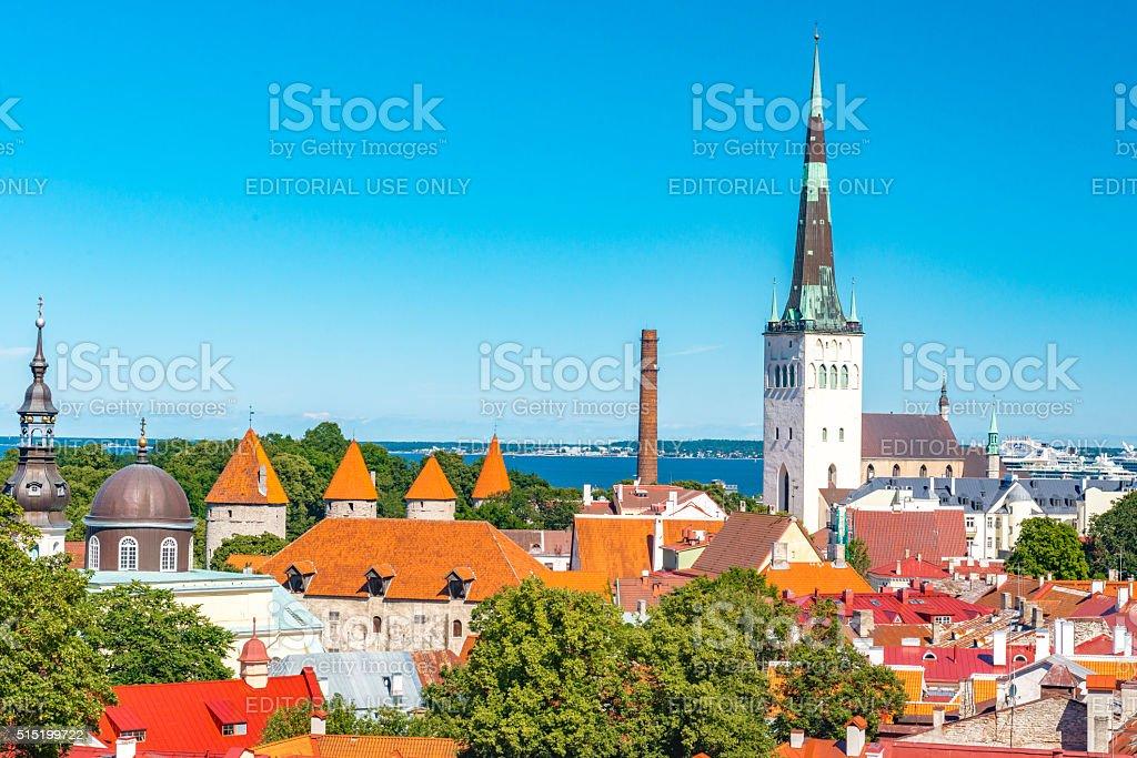 Cityscape of the Old Town Tallinn stock photo