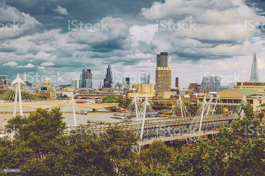Cityscape of the Thames river with the financial district stock photo