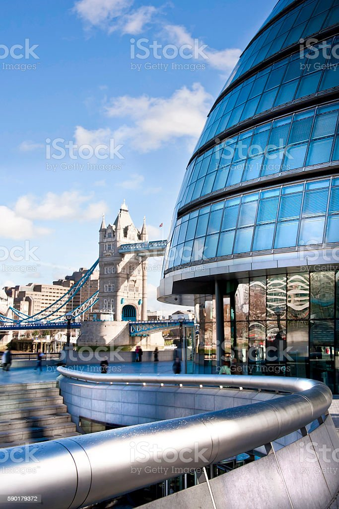 cityscape of the tower bridge and the city hall stock photo