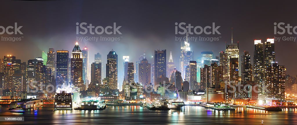 Cityscape of Times Square in New York City at night royalty-free stock photo