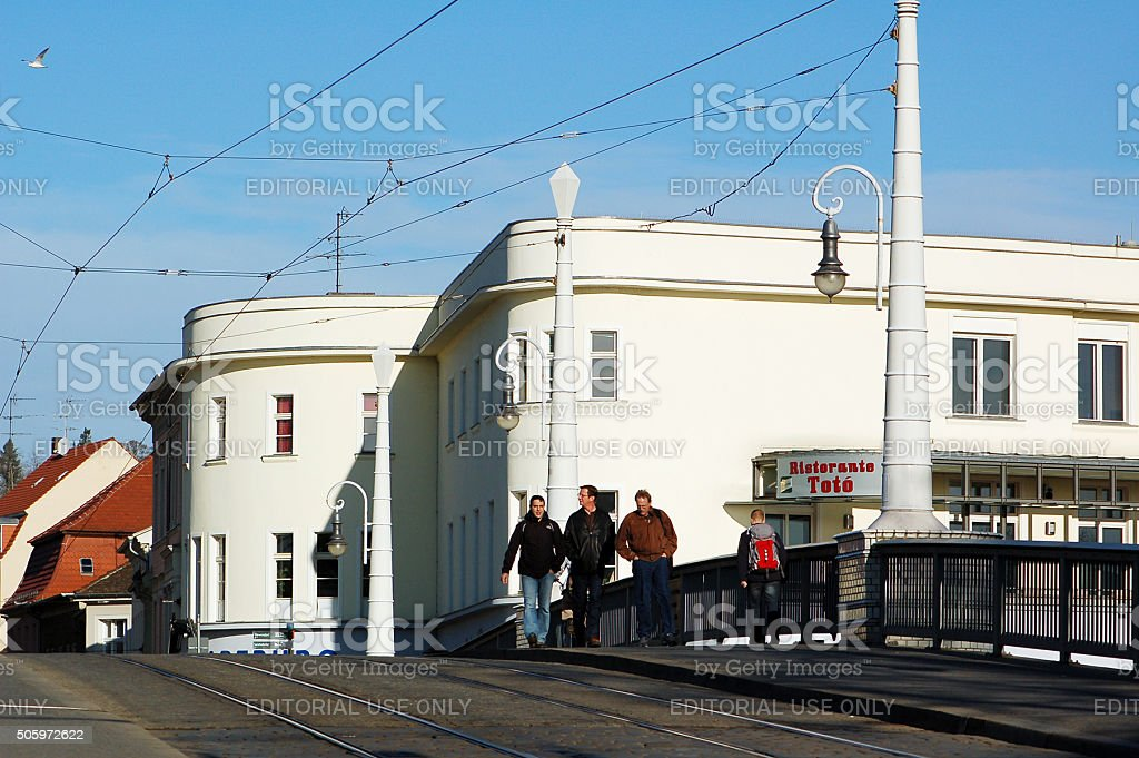 Cityscape of town Brandenburg an der Havel at Havel stock photo