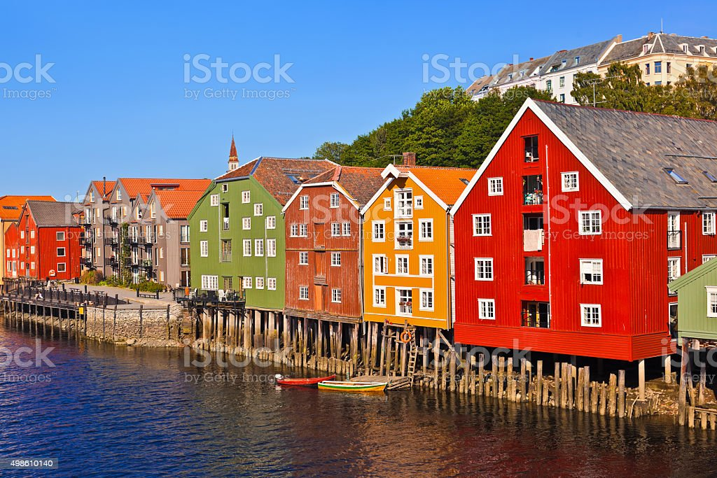 Cityscape of Trondheim, Norway stock photo