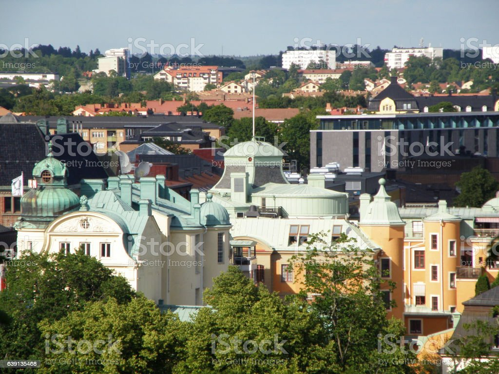 Cityscape of Uppsala as seen from Uppsala Castle, Sweden stock photo