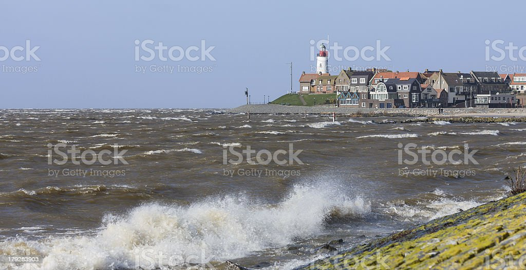Cityscape of Urk by stormy weather royalty-free stock photo