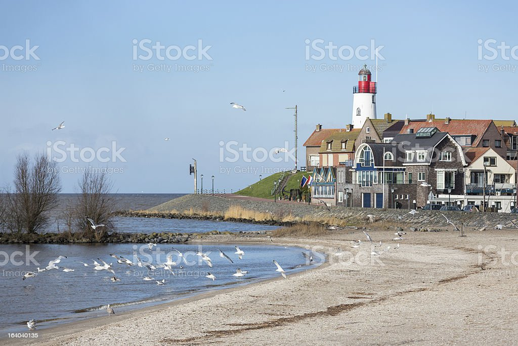 Cityscape of Urk seen from the beach royalty-free stock photo