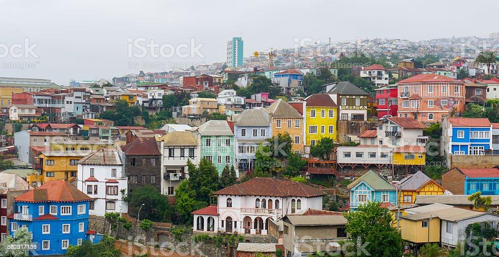 Cityscape of Valparaiso, Chile stock photo