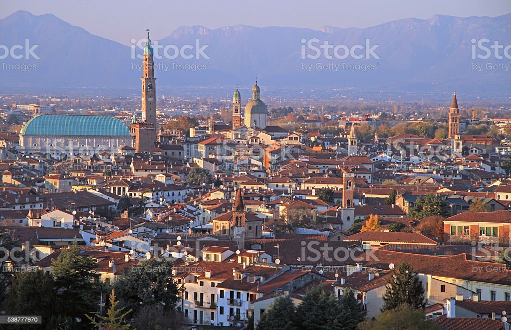 cityscape of Vicenza, northern Italy stock photo