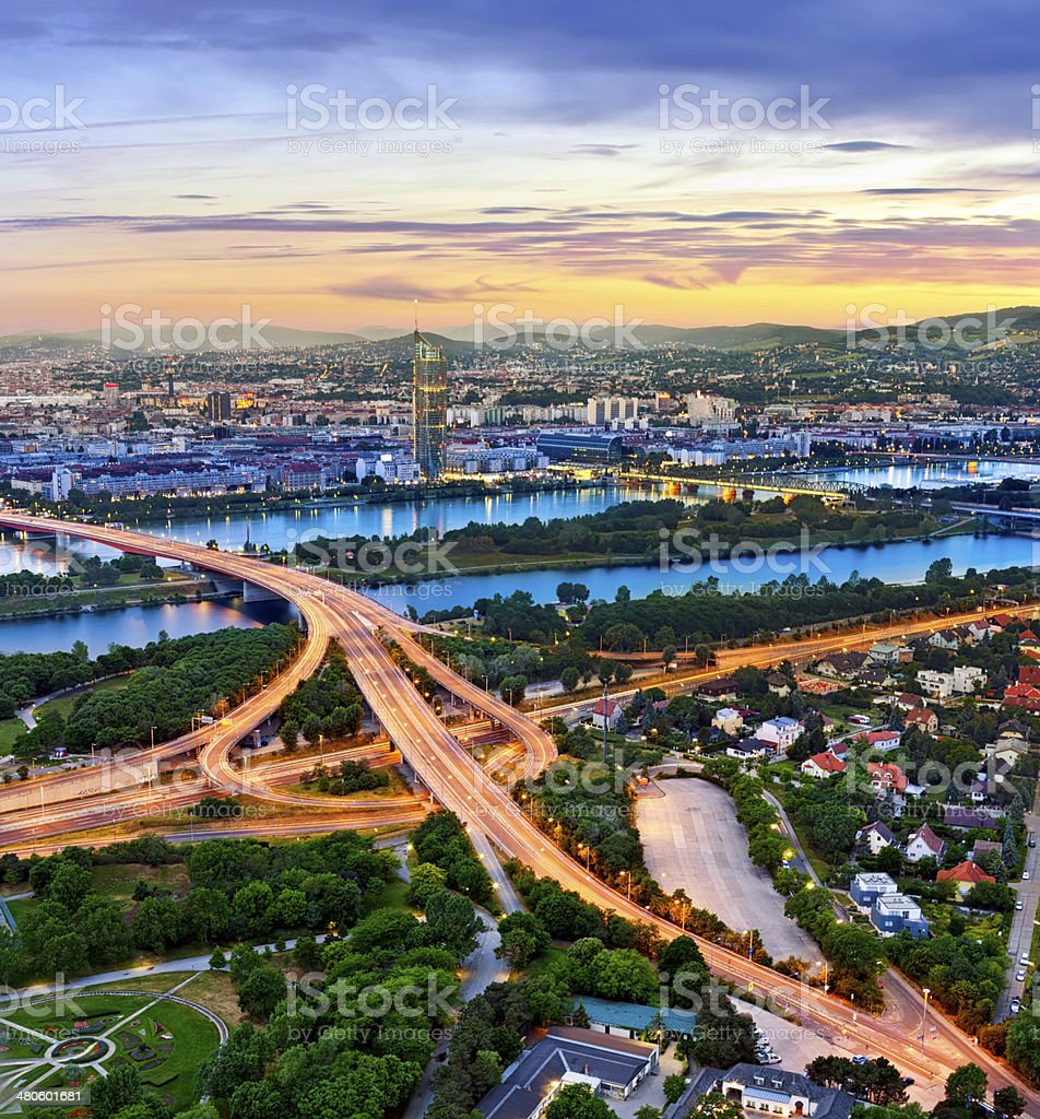 Cityscape of Vienna with the Danube River stock photo