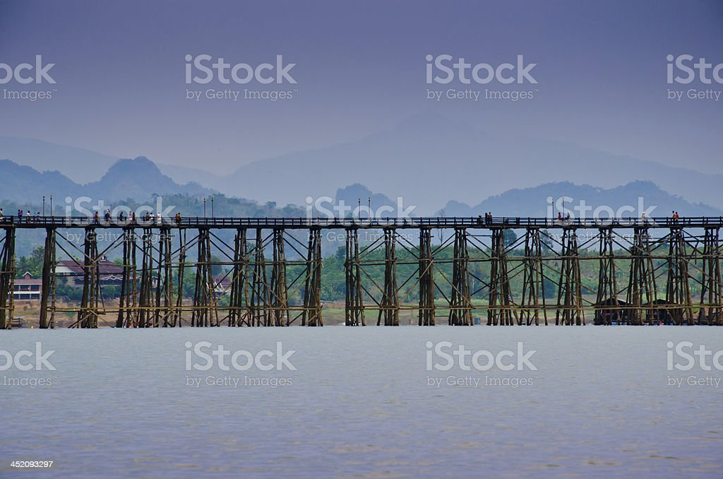 Cityscape of wooden bridge at Sangklaburi in Kanchanaburi, Thail royalty-free stock photo