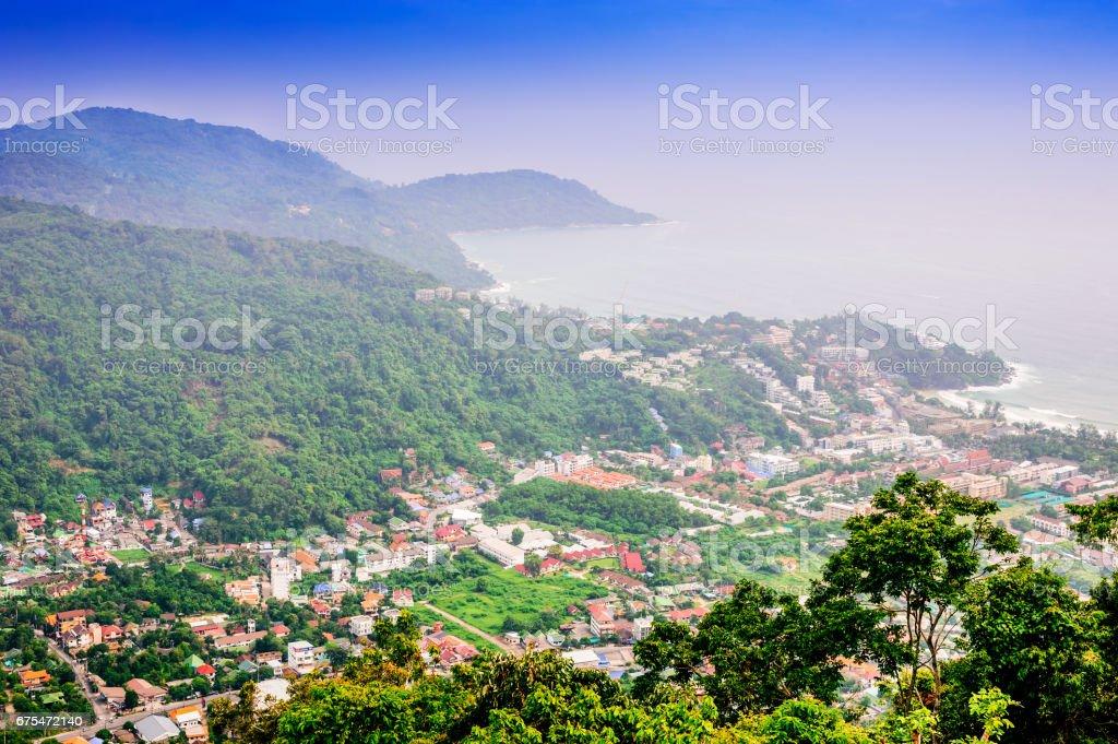 Cityscape on mountain landscape nature and blue sea stock photo