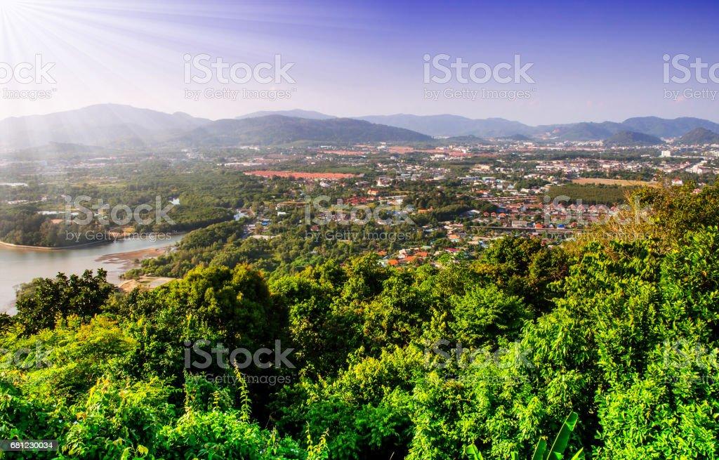 Cityscape on mountain landscape nature stock photo