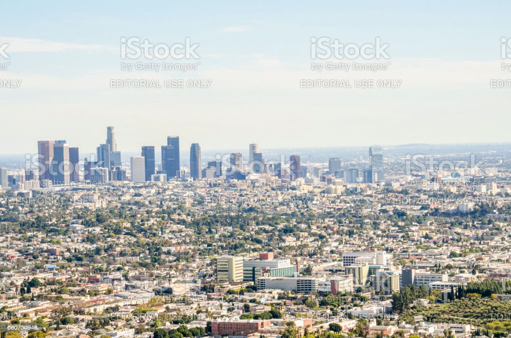 Cityscape or skyline of LA city with smog during sunrise or sunset stock photo