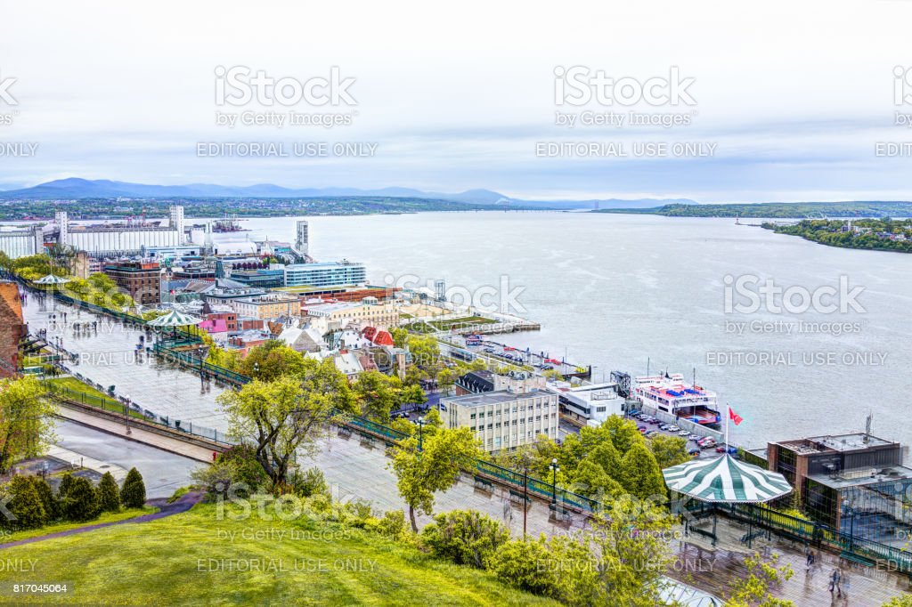 Cityscape or skyline of Dufferin Terrace and Saint Lawrence river at overlook in old town stock photo