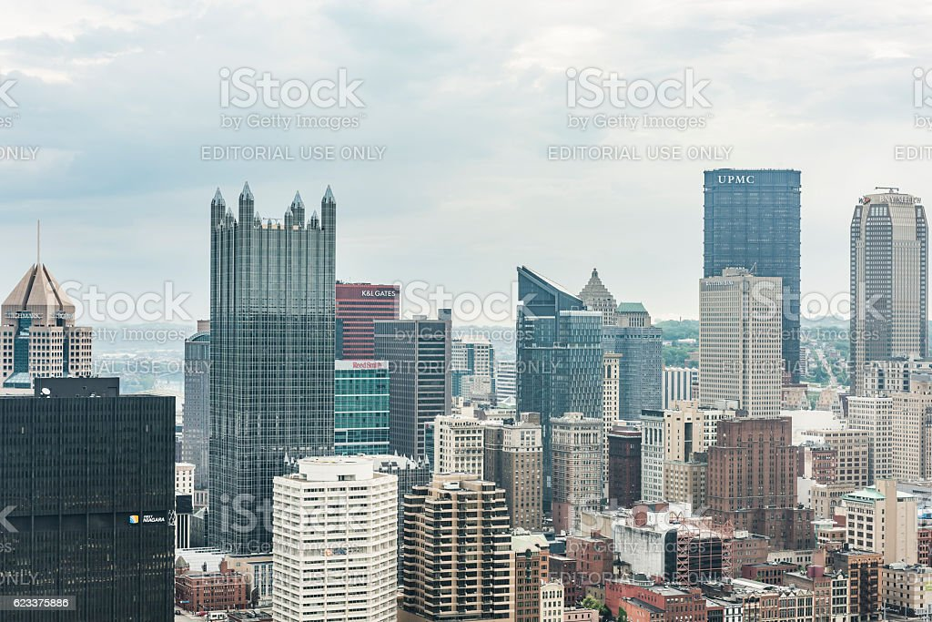 Cityscape or skyline with bank skyscrapers stock photo