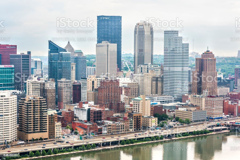 Cityscape or skyline with bank skyscrapers such as UPMC on overcast day stock photo