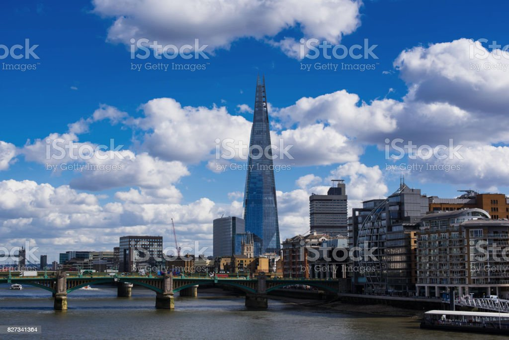 Cityscape over thames stock photo