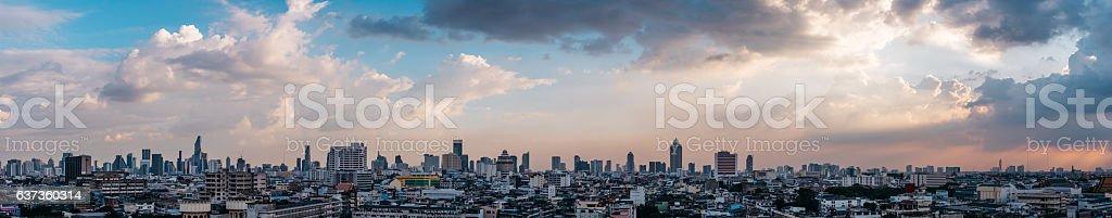 Cityscape panorama of Bangkok during the sunset Thailand Asia stock photo