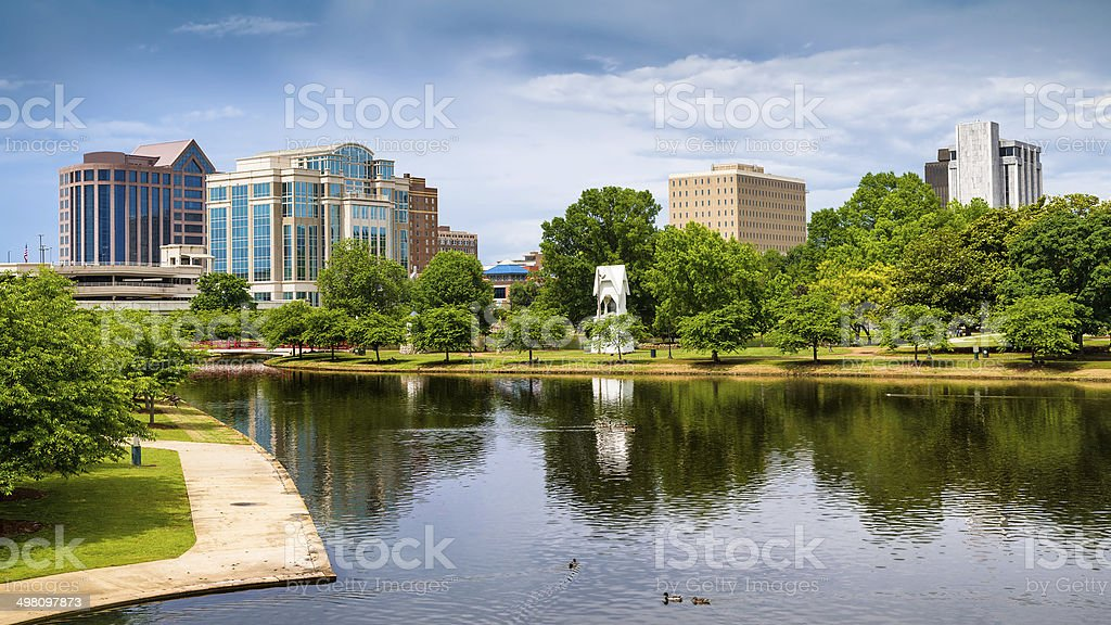 Cityscape scene of downtown Huntsville, Alabama stock photo