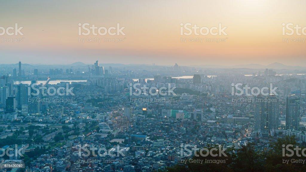 Cityscape Seoul Panorama Sunset South Korea stock photo