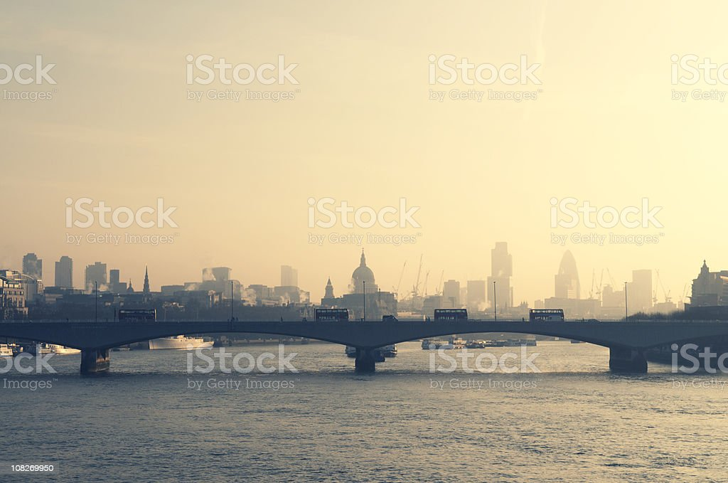 Cityscape Skyline of London and River Thames stock photo