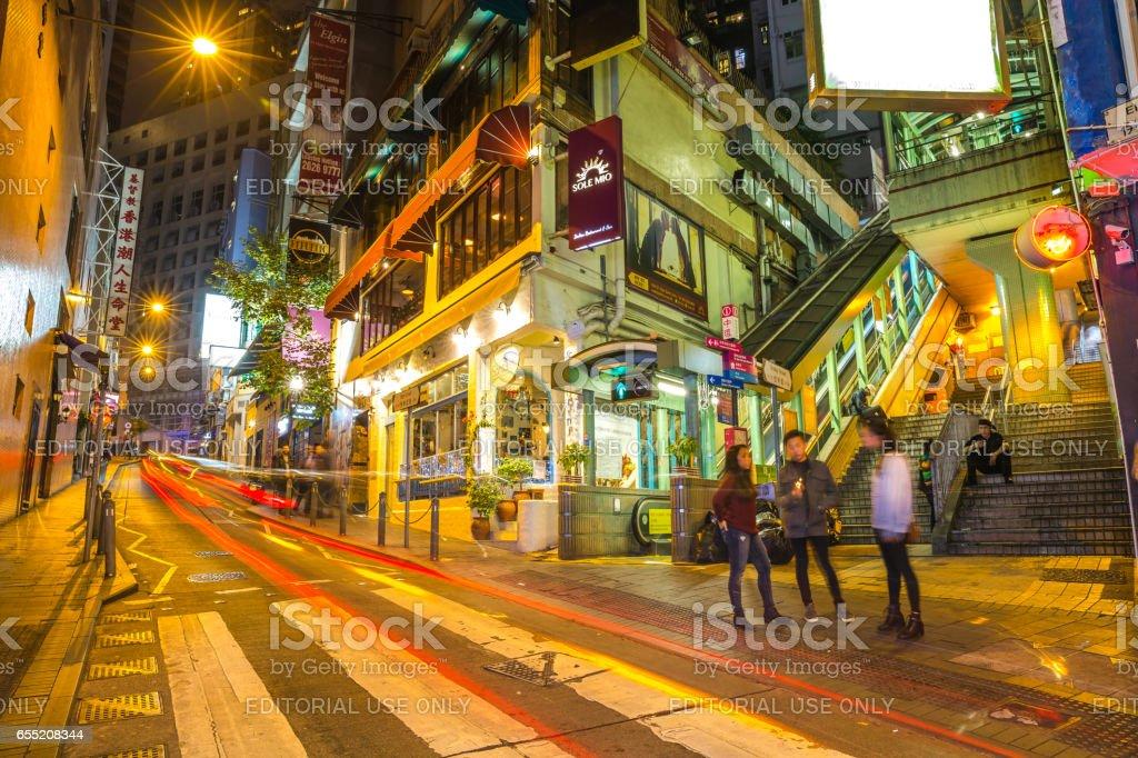 Cityscape Soho night stock photo
