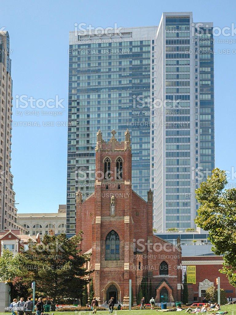 Cityscape St Patrick Church stock photo