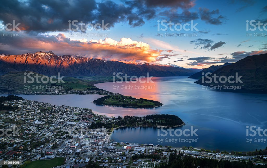 Cityscape, sunset of queenstown with lake Wakatipu stock photo