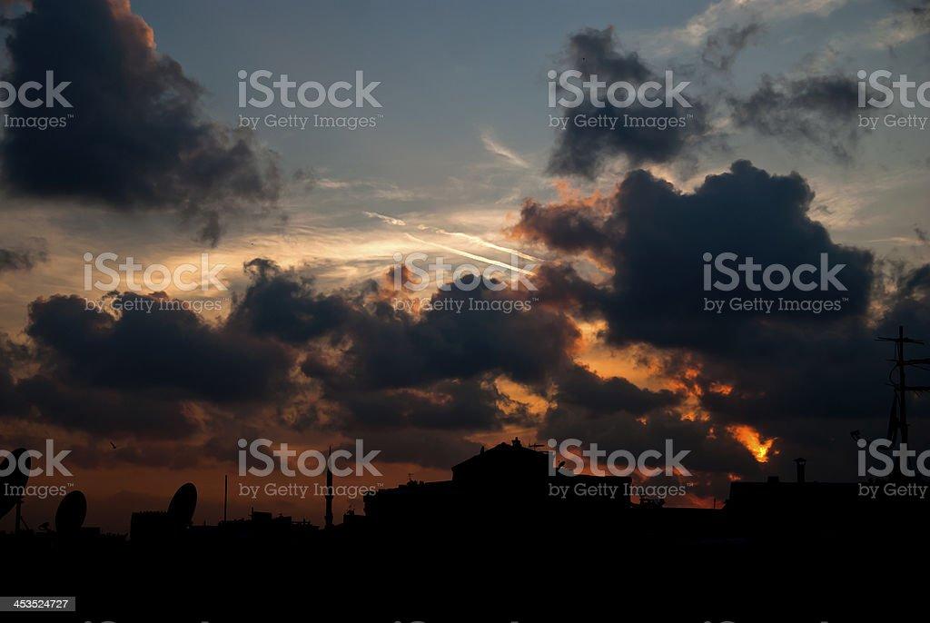 Cityscape Sunset royalty-free stock photo