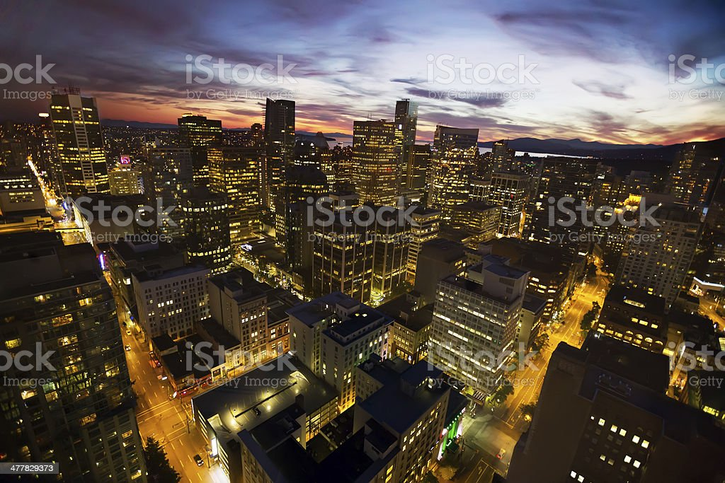 Cityscape:  Twilight in downtown Vancouver royalty-free stock photo