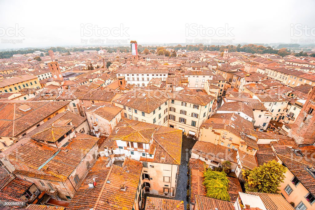 Cityscape view in Lucca old town stock photo