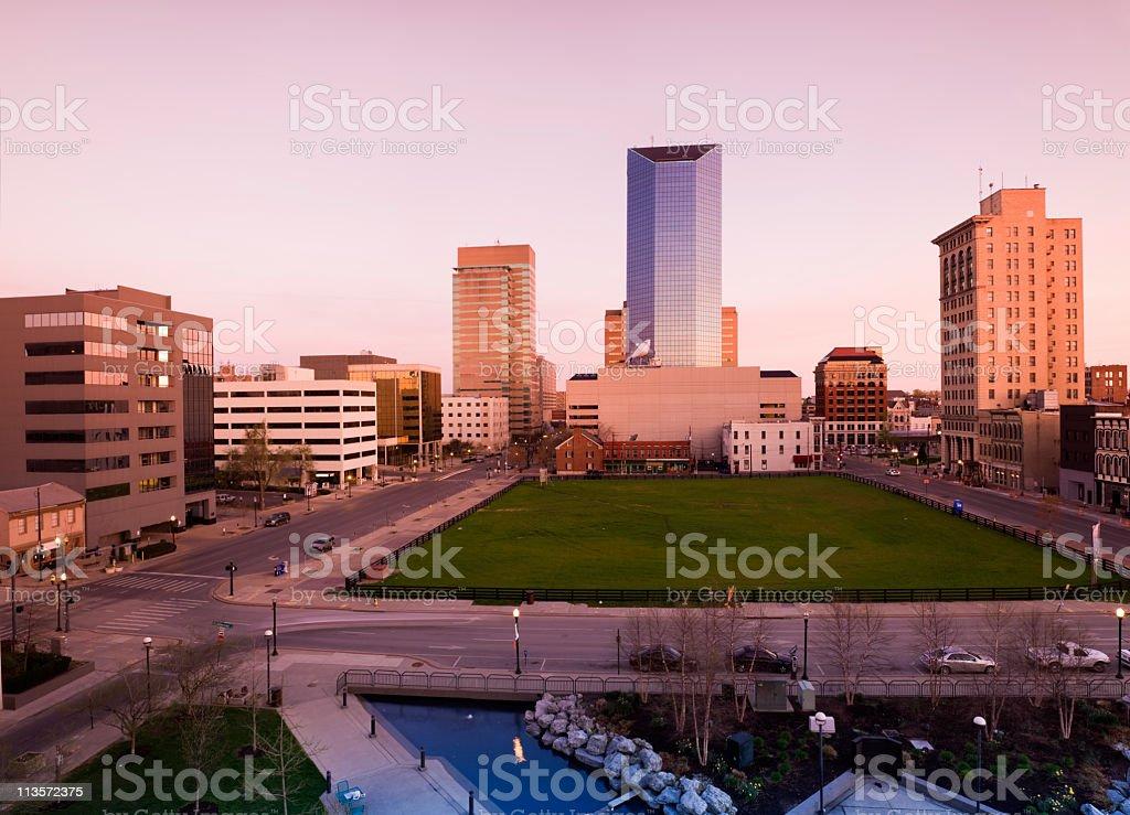 Cityscape view of Lexington at dusk stock photo