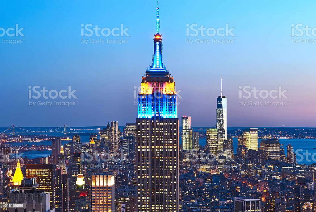 Cityscape view of Manhattan with Empire State Building at night stock photo