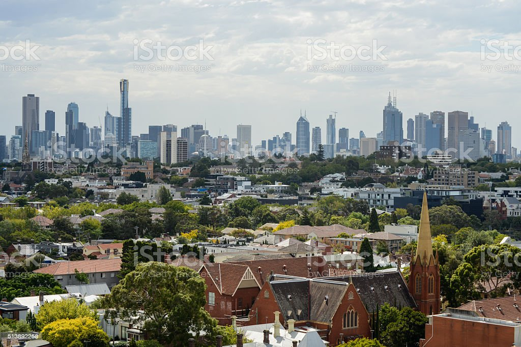 Cityscape view of Melbourne stock photo
