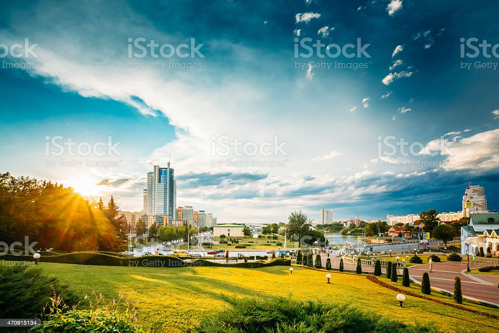 Cityscape View Of Modern Architecture Of Minsk, From District Ne stock photo