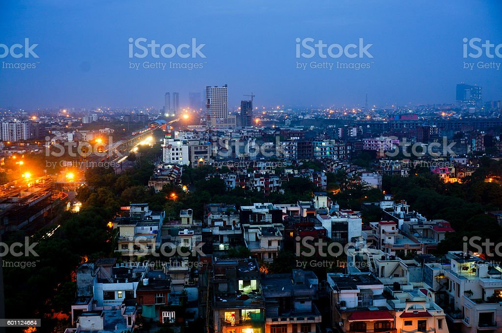 Cityscape view of Noida, Delhi at night stock photo