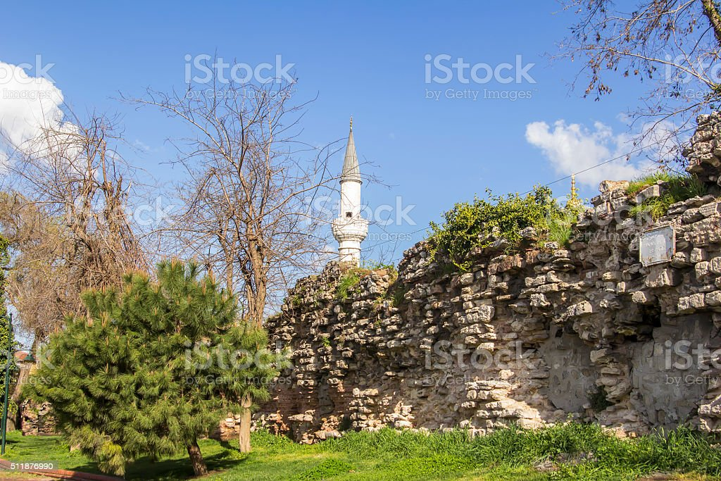 cityscape view of the walls of the ancient Constantinople stock photo