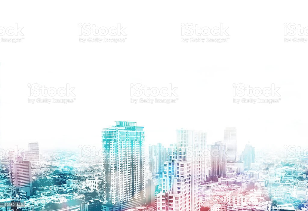 Cityscape view overlay with color and leave copy space stock photo