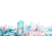 Cityscape view overlay with color and leave copy space