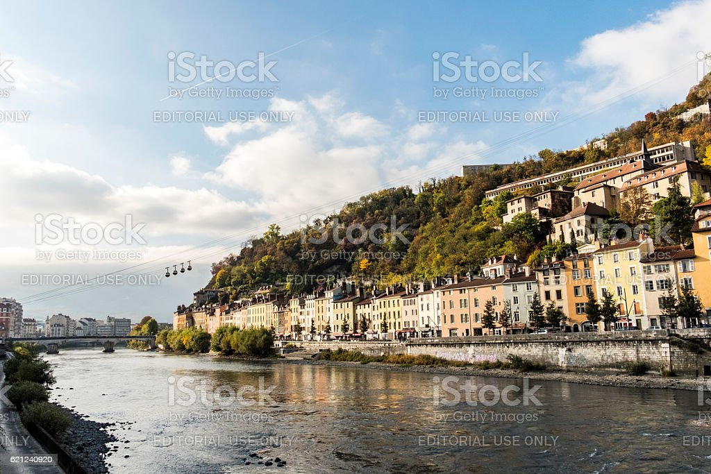 cityscape view with  river and bridge in Grenoble stock photo