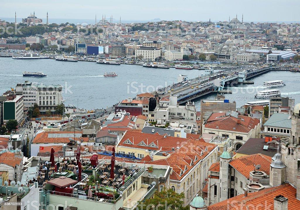 Cityscape with Galata Bridge stock photo