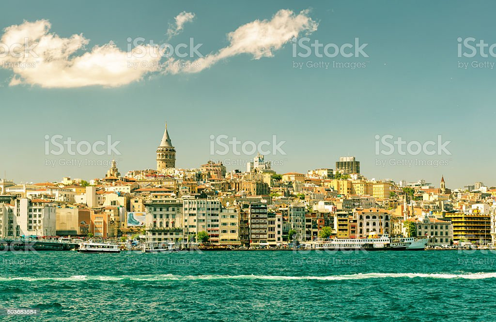 Cityscape with Galata Tower in Istanbul stock photo