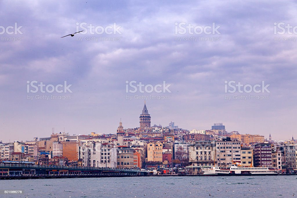 Cityscape with Galata Tower Istanbul stock photo