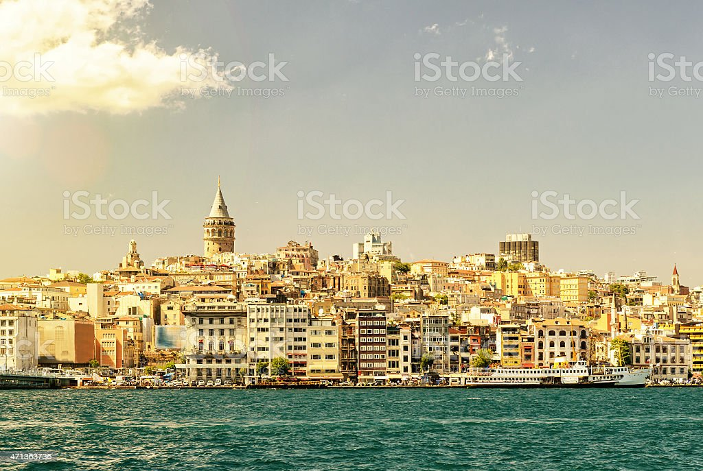 Cityscape with Galata Tower over the Golden Horn, Istanbul stock photo