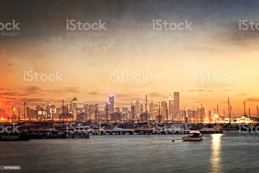 Cityscape with Grunge Retro Effects stock photo