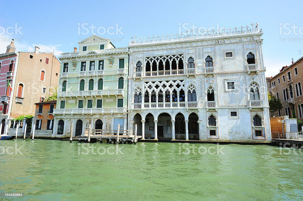 Cityscape with Medieval palaces in Venice stock photo
