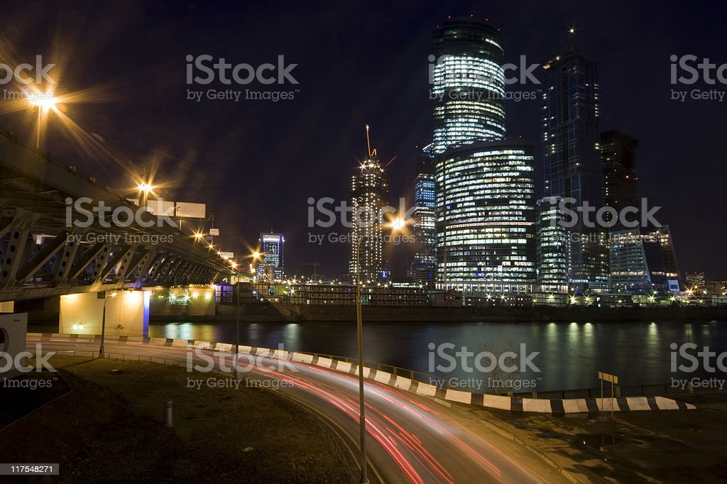 Cityscape with modern skyscraper at night royalty-free stock photo