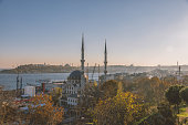 Cityscape with Mosques and Bosphorus in Istanbul, Turkey