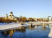 Cityscape with Orthodox Church and Bridge
