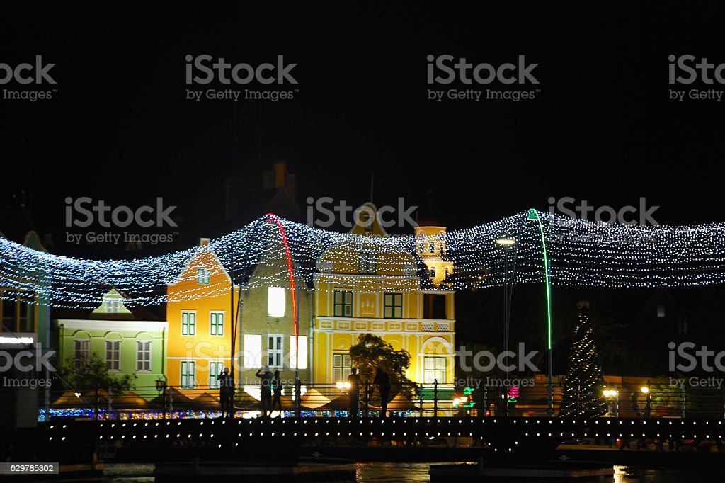 Cityscape with Pontoon Bridge with decoration in Willemstad on Curaçao. stock photo