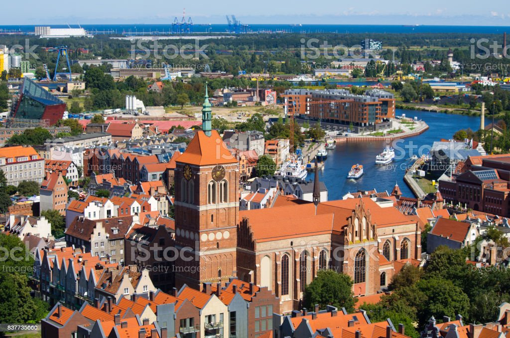Cityscape with river, Gdansk, Poland stock photo